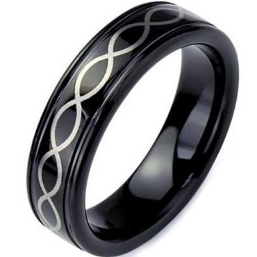 (Wholesale)Black Tungsten Carbide Infinity Ring - TG3369