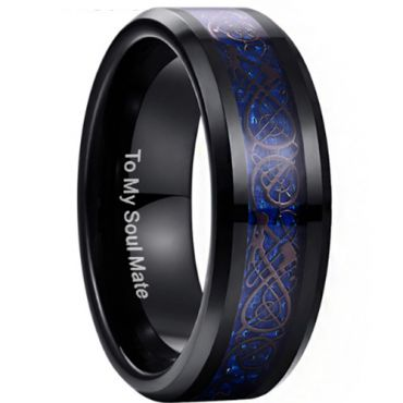 (Wholesale)Black Tungsten Carbide Dragon Ring - TG3371BB