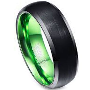 (Wholesale)Tungsten Carbide Aluminum Black Green Ring-3386