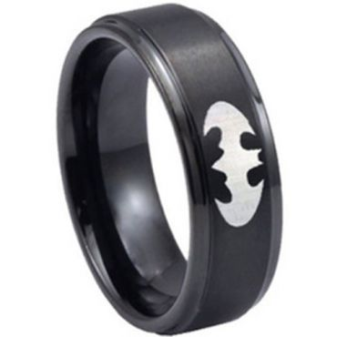 (Wholesale)Black Tungsten Carbide Batman Ring - TG3389