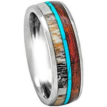 (Wholesale)Tungsten Carbide Imitate Turquoise Wood & Antler Ring