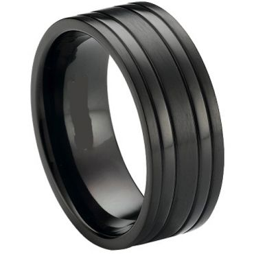(Wholesale)Black Tungsten Carbide Four Grooves Ring - TG3416