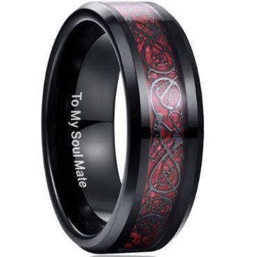 (Wholesale)Black Tungsten Carbide Dragon Ring - TG3422