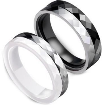 (Wholesale)Black White Ceramic Faceted Ring - TG3454A