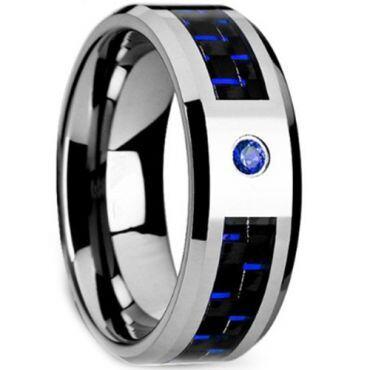 (Wholesale)Tungsten Carbide Carbon Fiber & CZ Ring - TG3487