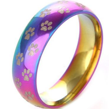 (Wholesale)Tungsten Carbide Rainbow Color Ring With Paws-3491