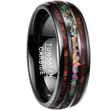 (Wholesale)Black Tungsten Carbide Imitate Opal Ring - TG3498