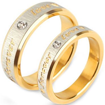 (Wholesale)Tungsten Carbide Forever Love Ring With CZ - TG3514A
