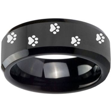 (Wholesale)Black Tungsten Carbide Paws Ring - TG3550
