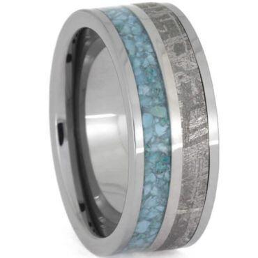 (Wholesale)Tungsten Carbide Carbon Fiber Imitate Meteorite Ring-
