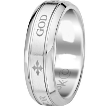(Wholesale)Tungsten Carbide Beveled Edges Cross Ring - TG3561