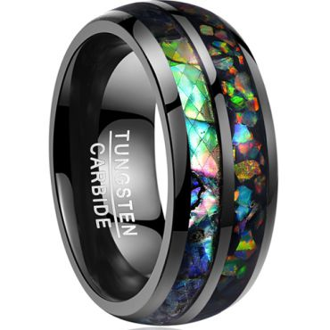 (Wholesale)Black Tungsten Carbide Imitate Opal Ring - TG3565