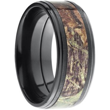 (Wholesale)Black Tungsten Carbide Camo Step Edges Ring - TG3572