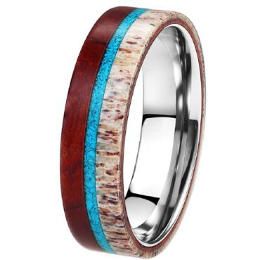 (Wholesale)Tungsten Carbide Deer Antler Turquoise Wood Ring-3573