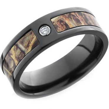 (Wholesale)Black Tungsten Carbide Camo Ring With CZ - TG3581