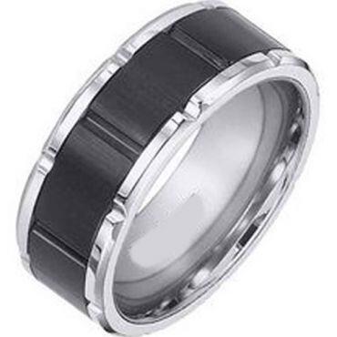 (Wholesale)Tungsten Carbide Brick Pattern Ring - TG3591