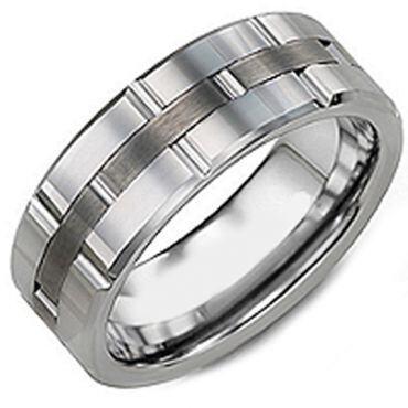 (Wholesale)Tungsten Carbide Brick Pattern Ring - TG3601