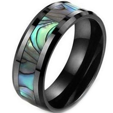 (Wholesale)Black Tungsten Carbide Abalone Shell Ring-3605