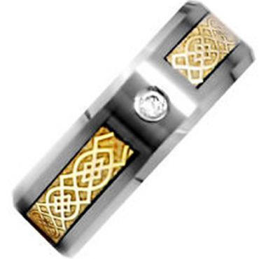 (Wholesale)Tungsten Carbide Celtic inlays Ring With CZ-3607