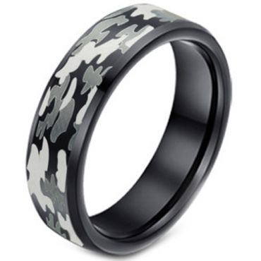 (Wholesale)Black Tungsten Carbide Camo Pattern Ring - TG3627A