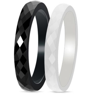 (Wholesale)Black White Ceramic Faceted Ring - TG3675