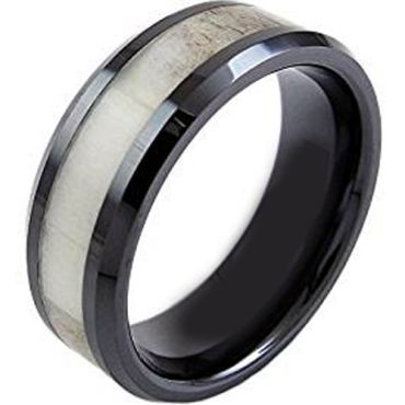 (Wholesale)Black Tungsten Carbide Deer Antler Ring - TG3712