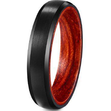 (Wholesale)Black Tungsten Carbide Wood Ring - TG3717