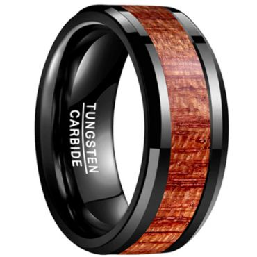 (Wholesale)Black Tungsten Carbide Wood Ring - TG3726