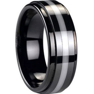 (Wholesale)Black Tungsten Carbide Ring With Ceramic - TG3744