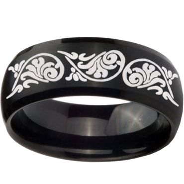 (Wholesale)Black Tungsten Carbide Beveled Edges Ring - TG3756