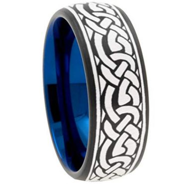 (Wholesale)Tungsten Carbide Black Blue Celtic Dome Ring - TG3756