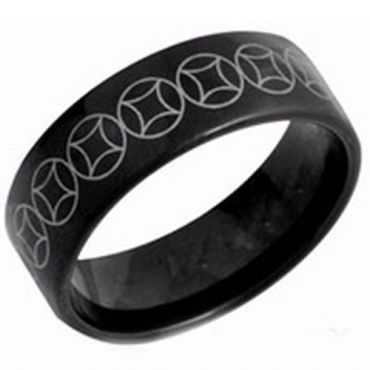 (Wholesale)Black Tungsten Carbide Celtic Pipe Cut Ring - TG3800