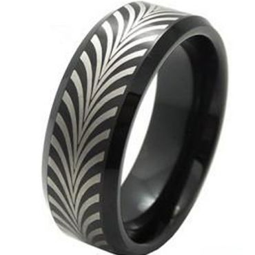 (Wholesale)Black Tungsten Carbide Beveled Edges Ring - TG3801