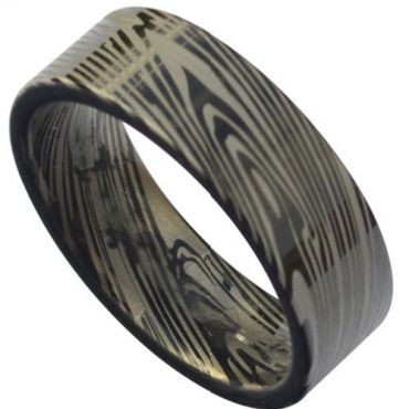 (Wholesale)Black Tungsten Carbide Damascus Ring - TG3818