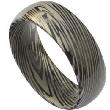 (Wholesale)Black Tungsten Carbide Damascus Ring - TG3824