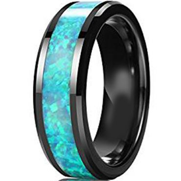 (Wholesale)Black Tungsten Carbide Imitate Opal Ring - TG3827AA