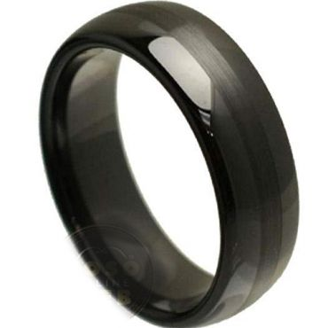 (Wholesale)Black Tungsten Carbide Dome Ring - TG3829