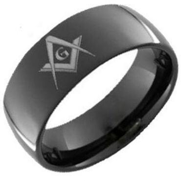 (Wholesale)Black Tungsten Carbide Masonic Ring - TG383AA