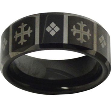 (Wholesale)Black Tungsten Carbide Beveled Edges Ring - TG3845