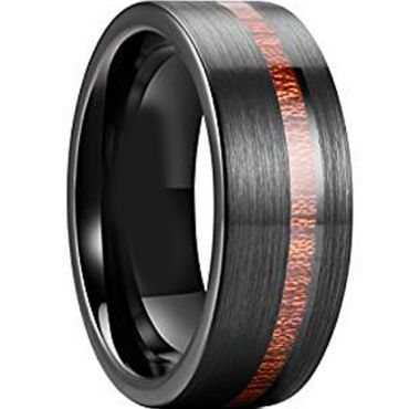 (Wholesale)Black Tungsten Carbide Offset Groove Wood Ring - TG38