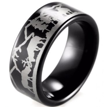 (Wholesale)Black Tungsten Carbide Outdoor Hunting Ring - TG388