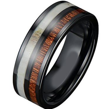 (Wholesale)Black Tungsten Carbide Deer Antler Wood Ring-3882AA
