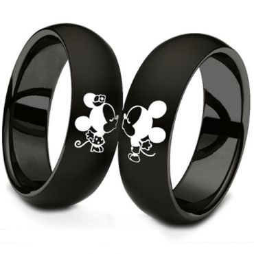 (Wholesale)Black Tungsten Carbide Mickey Mouse Dome Court Ring-3