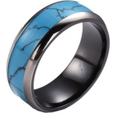 (Wholesale)Black Tungsten Carbide Imitate Turquoise Ring - TG388