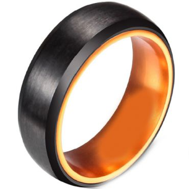 (Wholesale)Tungsten Carbide Aluminum Black Orange Ring - TG3955