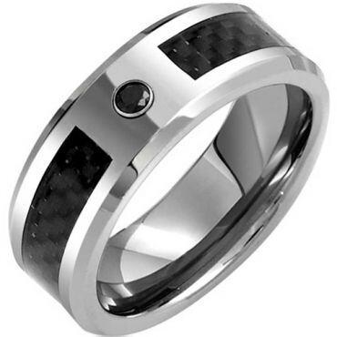 (Wholesale)Tungsten Carbide Carbon Fiber & CZ Ring - TG3975