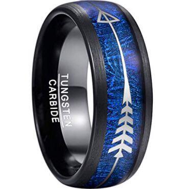 (Wholesale)Black Tungsten Carbide Imitate Meteorite Ring-3978BB