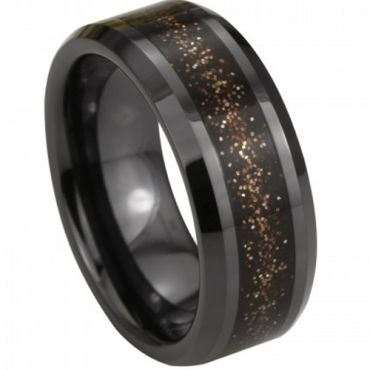 (Wholesale)Black Tungsten Carbide Ring With Ceramic - TG3980