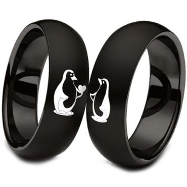 (Wholesale)Black Tungsten Carbide Penguin Dome Court Ring-3984