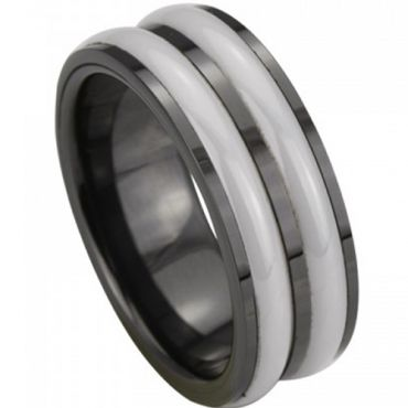 (Wholesale)Black White Ceramic Ring - TG3985